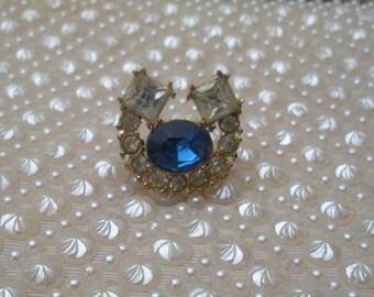 Vintage Blue & Clear Rhinestone Horse Shoe Brooch