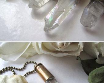 Quartz AB Bullet Pendant Necklace (1) - AB Metallic Coated Clear Stone. Aura Quartz Bullet Jewelry