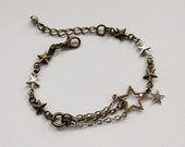 Shooting Star Bracelet. Space Jewelry. Mixed Metal.