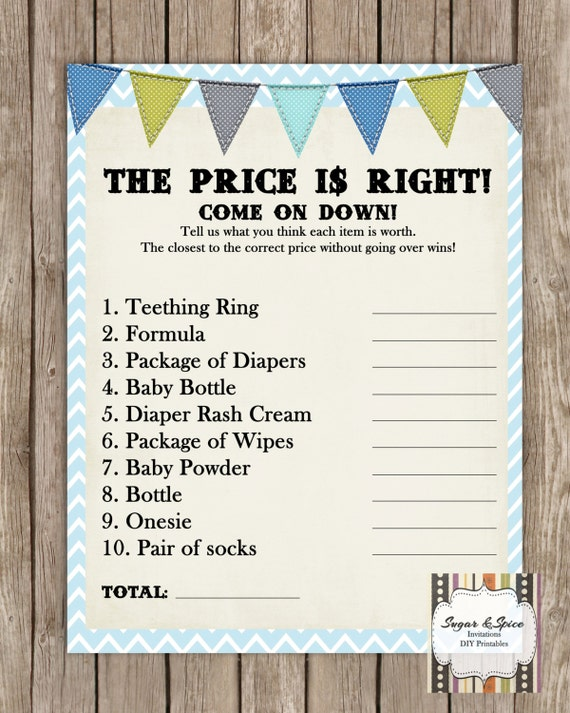 baby shower games printable price is right baby shower game baby
