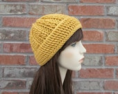 Cable Hat in Golden Yellow - The Stone Lodge Beanie - Mustard Yellow Crochet Hat - Winter Accessories - Womens Winter Hat - Crochet Hat