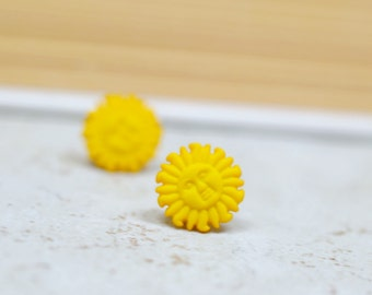 Tiny Yellow Sun Earrings, Tropical Summer Vacation Jewelry, Bright Vibrant Beach Jewelry, Nautical Gifts