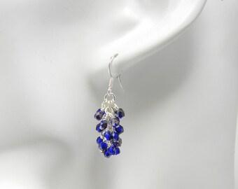 Cobalt Blue Cascade Earrings in Silver