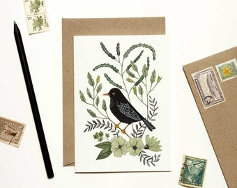 Black Bird with Green Floral Card