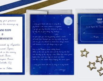 Wedding Invitation Set - Watercolor - i carry your heart Poem - DEPOSIT