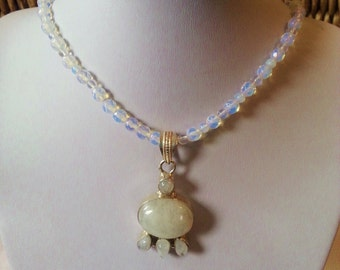 Fancy Moon Stone Crystal necklace Sterling Silver