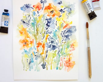 "Abstract Flora, Original Watercolor Abstract Flowers 9""x12"", or Fine Art Print 8x10"