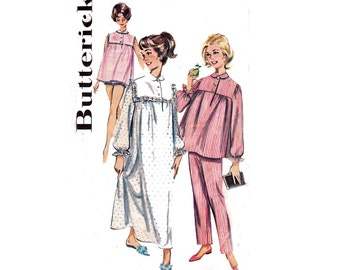 60s Pajamas & Nightdress Pattern Butterick 9986 Babydoll Sleepwear Bloomers Nightgown Sewing Pattern Size 16 Bust 36 inches