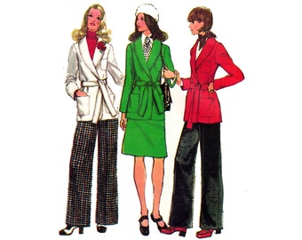 Simplicity 5197 Wrap Coat Skirt Pants 1970s Vintage sewing pattern Size 12 Bust 34 Inches UNCUT Factory Folded