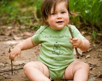 6-12m Patience Buddha Organic Baby Onesie, Sage Green short sleeve, baby yoga clothing, made in USA, cute baby clothes