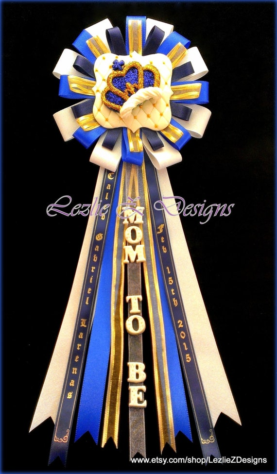 royal prince crown theme baby boy shower corsage pin keepsake mom to