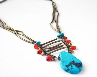 Turquoise Carnelian Tribal Necklace Boho Necklace Women Necklace Indian Jewelry Native American Southwestern Necklace Blue Orange Gold Brass