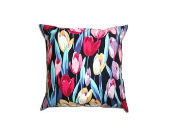 """Tulips Cushion Cover Bright Print Cotton 14"""" 35cm Pillow Case Dark Navy Blue Pink Yellow Purple Painted Flowers Home Decor Living Gift Ideas"""