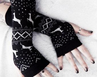 Snow Dance Arm Warmers | Fair Isle Black Light Heather Grey Deer Sweater Knit Nordic | Boho Cycling Festive Gloves Gothic Goth Ski Mori Girl