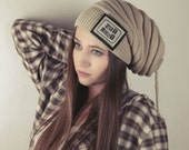 Slogan hat - Beige Hat beanie with catchword or Cowl - Gift for Her for him - New collection 2015 - Ready for Shipping - Winter Fashion
