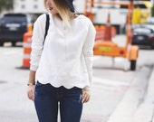 Scalloped White Sweater
