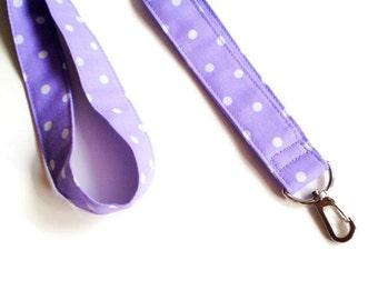 Lavender Fabric Lanyard, Lavender Polka Dot Lanyard, Polka Dot Lanyard, Lavender ID Key Holder