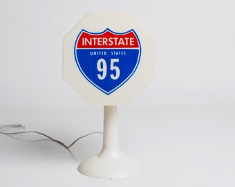 Vintage 60s 70s MOD White Traffic Stop Sign Lamp