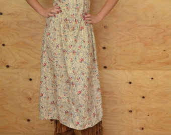 Vintage 70's Creamy Sweet Floral Meadow Print Dress SZ S/M