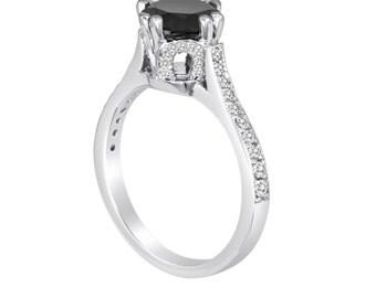 Platinum Black & White Diamond Engagement Ring 1.88 Carat Unique HandMade Ring Micro Pave Set