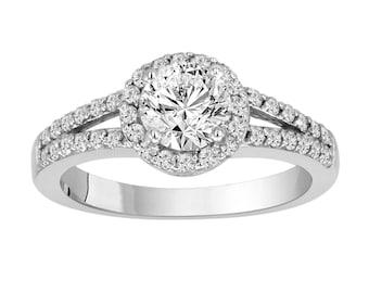 Diamond Halo Engagement Ring 14k White Gold Certified 1.35 Carat handmade