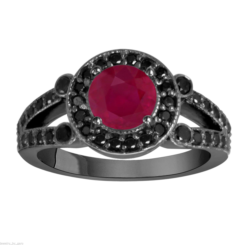 Ruby & Black Diamond Engagement Ring Vintage Style 14k Black