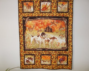 Hunting Dogs and Fall Wildlife Quilted  Wall Hanging