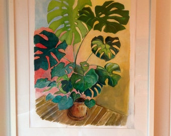 Original Gouache Painting - Botanical Painting - Monstera House Plant 15 x 20 inch - Philodendron - Retro House Plant - Urban Jungle Art