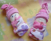 Baby Mine.Set of 2 Diaper Babies.Disposable Diapers.Baby Washcloths.Socks.Girl, Boy, Neutral.Baby Diaper Cake.Baby Shower.Gender Reveal :)
