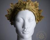 Wreath tiara of ivy leaves / Diadem olive green fairy headpiece / Dionysian wreath Roman style / Leaf crown / Tribal fusion fashion Elf larp
