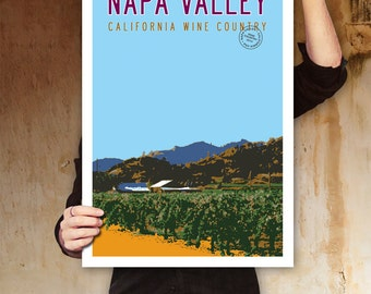 NAPA VALLEY Art, Travel Poster Art, California Wall Art, Vineyard Art, Travel Art, Personalized Poster, Wine Kitchen Decor, Retro Poster.