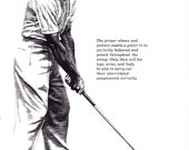 GOLF print of correct stance and posture, Golf pro lesson,1960s illustration black line art