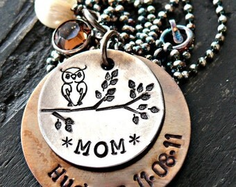 Owl On Branch Personalized Necklace - Personalized Necklace - Personalized Owl Necklace - Personalized Mothers Necklace