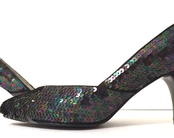 Vintage Aurora Borealis Iridescent Sequined High Heels - 6 M