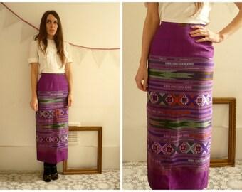 1970's Vintage Guatemalan Woven Ikat Bohemian Maxi Skirt Size XXS