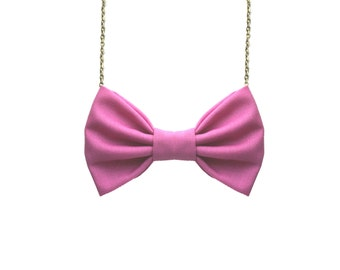 Orchid Bow Tie Necklace - Purple Pink For Casual Wear , Party, Prom, Bridesmaids Women Bowtie