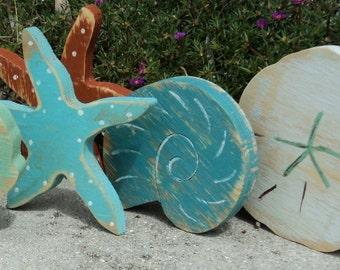 Set Of 4 Beach-y Shelf Sitters, Bowl Fillers, Wooden Star Fish, Sea Shells, Sand Dollar