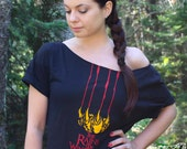 GAME Of THRONES SLOUCHY Off-the-Shoulder Woman's Tee. Rains of Winterfell. Red Wedding Shirt for the Ultimate GoT Geek