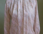 """Vintage 80's Petite Illustrations Semi-Sheer Pink Striped Long Sleeved Blouse with Abstract Print Bust 42"""" Waist 40"""""""
