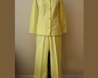 Sunshine Yellow Polyester Pants Suit