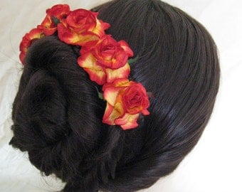 Rose Hair Pins x 5. Red/Yellow Paper. Wedding, Bridal, Regency, Victorian.
