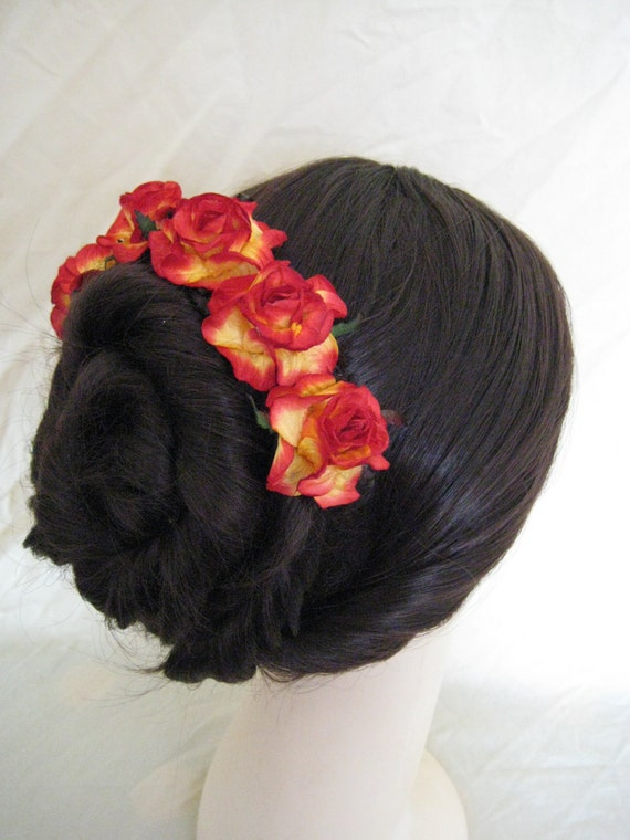 Rose Hairpins x 5. Red/Yellow Paper. Wedding, Bridal, Regency, Victorian.