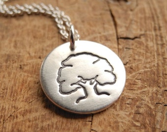 Small Oak Tree Necklace, Mighty Oak, Strength, Endurance, Fine Silver, Sterling Silver Chain, Made To Order