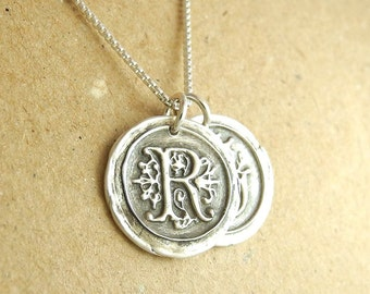 Double Wax Seal Monogram Necklace, Personalized, Two Initials, Fine Silver, Sterling Silver Chain, Made To Order