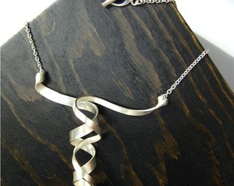 Sterling Silver Asymmetrical Double Curl Spiral Twist Ribbon Necklace Large