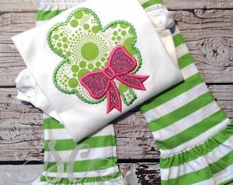 Girl St Patricks Day Outfit -  Girls St Pat's Shirt - Shamrock Shirt - Toddler St Patricks Shirt - Ruffle Pants Outfit - Monogrammed Shirt