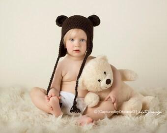 12 to 24 Months Hat, Organic Hat, Teddy Bear Hat, Organic Teddy Bear Hat. Baby Boy Hat, Espresso Brown Hat with Ears. Soft Hat. Photo Prop.