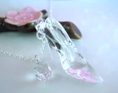 Cinderella glass slipper sterling silver Swarovski crystal necklace, Cinderella shoe crystal necklace
