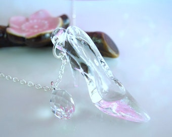 Cinderella glass slipper sterling silver Swarovski crystal necklace, Cinderella shoe crystal necklace, Once Upon A Time fairytale necklace