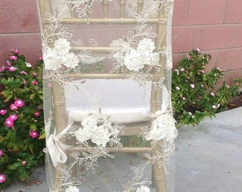 Bridal Chair Cover, Wedding Chair, Sheer Chair Cover, Shabby Chic Wedding, Floral Chair, Chair Decor, Bride and Groom, Sweetheart Table